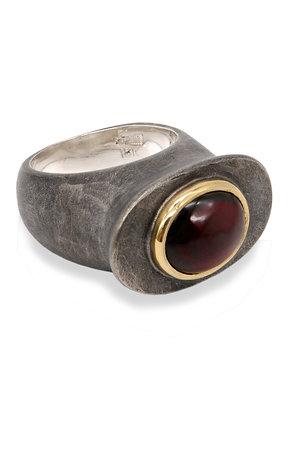 Sudan Platform Ring - Garnet Cabochon