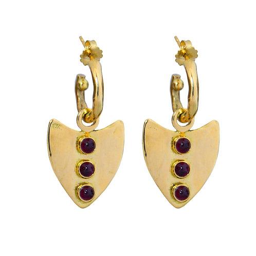 18K Maasai Arrow Earring Charms - Garnet