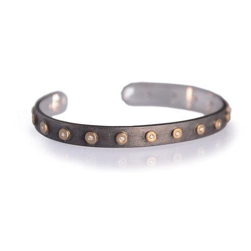 Diamond Studded Compliment Cuff - Silver