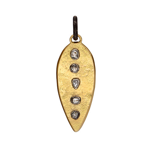 5 Stone Raw Diamond Gold Dinka Pendant