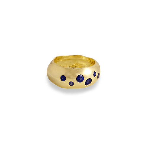 Blue Sapphire Galaxy Ring