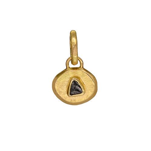 Single Stone Raw Diamond Circle Pendant
