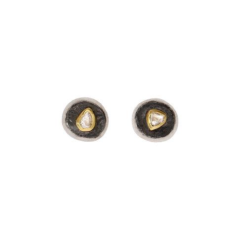 Raw Diamond Silver Stud Earrings