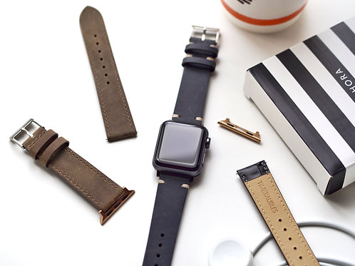 Vintage Hide Slate Apple Leather Watch Straps