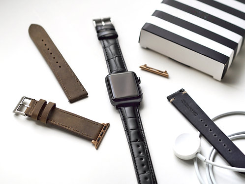 Croc Embossed Hide Noir No.1 Apple Leather Watch Straps