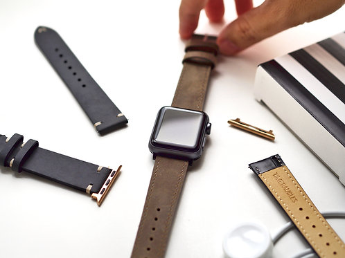Nubuck Hide Taupe Apple Leather Watch Straps