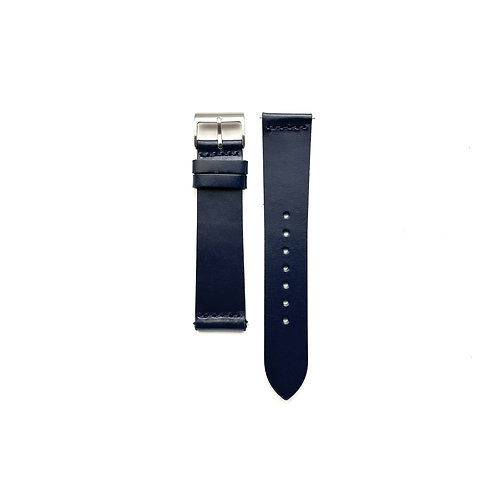 Hide Semi-Glazed Midnight Blue Leather Strap - Top Stitched