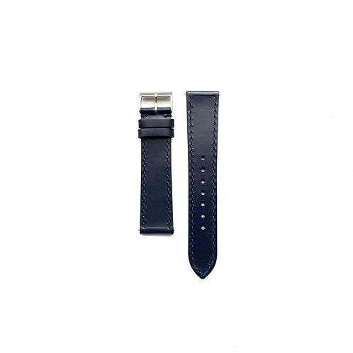 Hide Semi-Glazed Midnight Blue Leather Strap - Side Stitched
