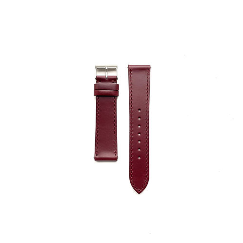 Hide Semi-Glazed Burgundy Leather Strap - Side Stitched