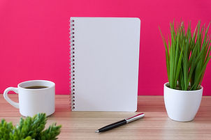 Canva - Notebook with coffee cup and pot