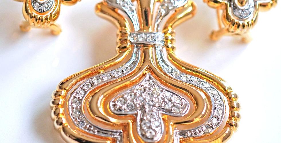 Crown Diamante Pendant Set