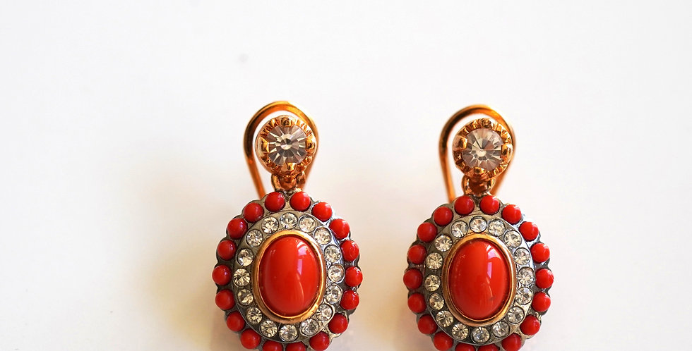 Oval Coral Earrings