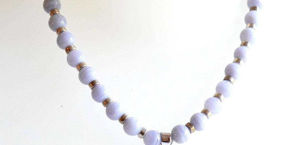 Blue Lace Silver Necklace