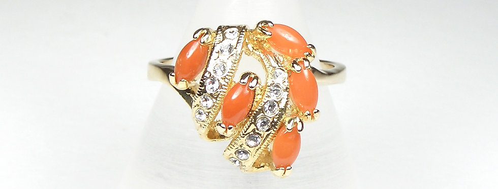 Marquise Coral Ring
