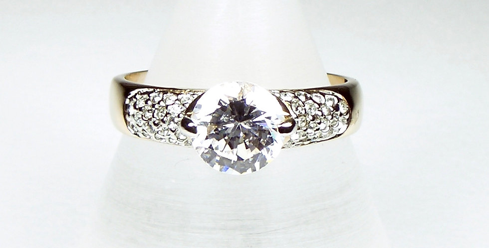 Gold Pave Solitaire