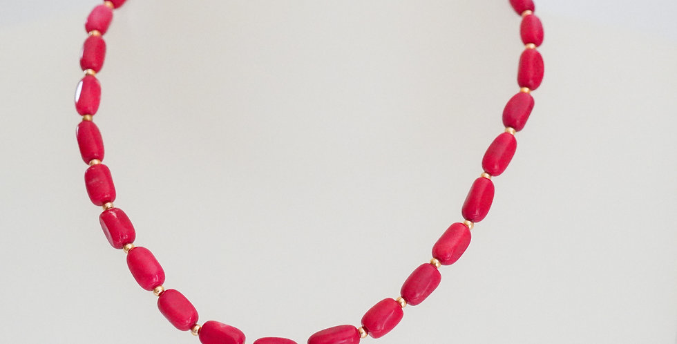 Red Grain Coral Necklace