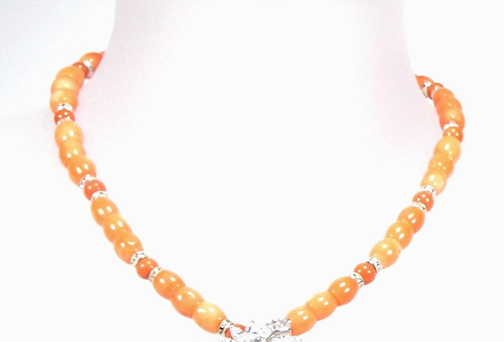 Peach Coral Silver Set