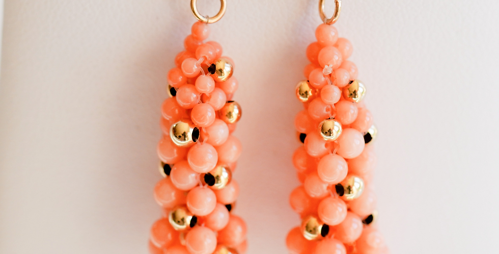 Philippa Coral Gold Drop Earrings