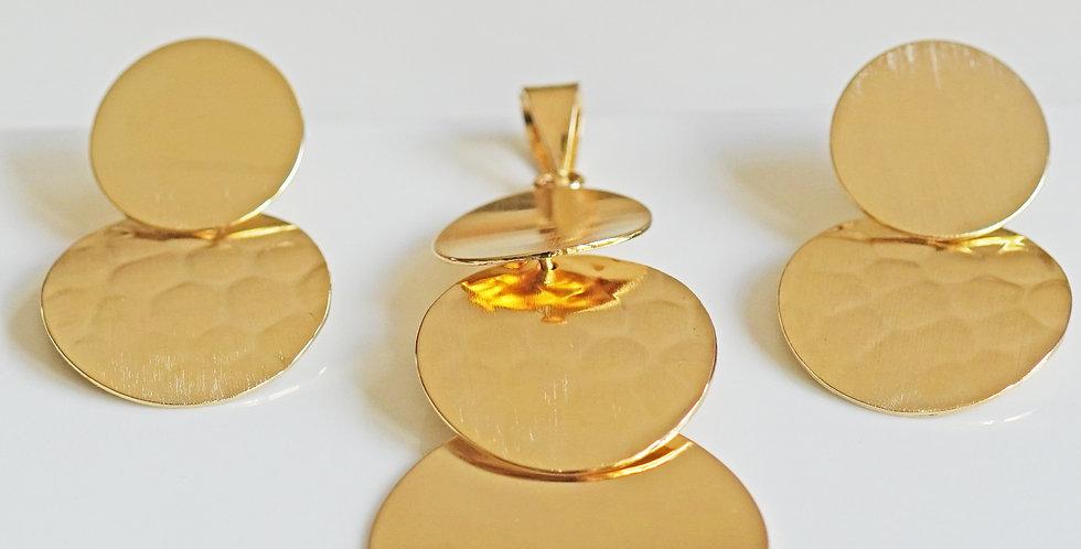 Disc Gold Pendant Set
