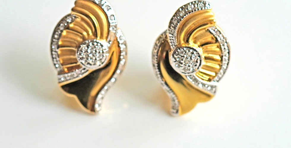 2 Tone Gold Fan Earrings