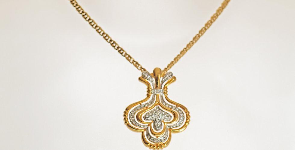 Crown Diamante Gold Pendant