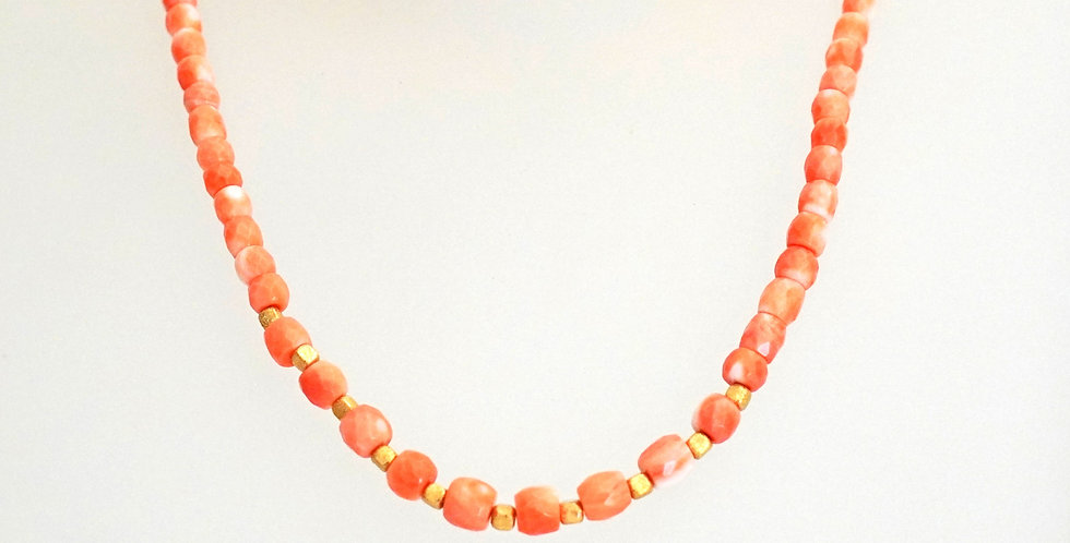 Delicately Pink Coral Gold Necklace
