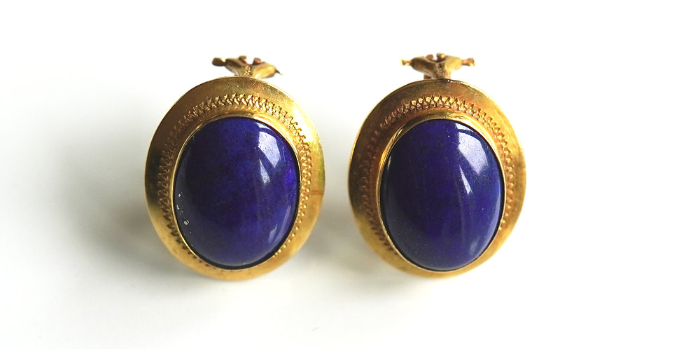 Lapis Gold Earrings