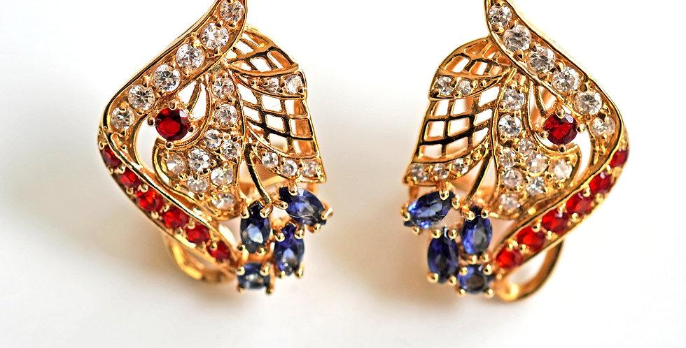 Gold-Ruby-Sapphire-Earrings