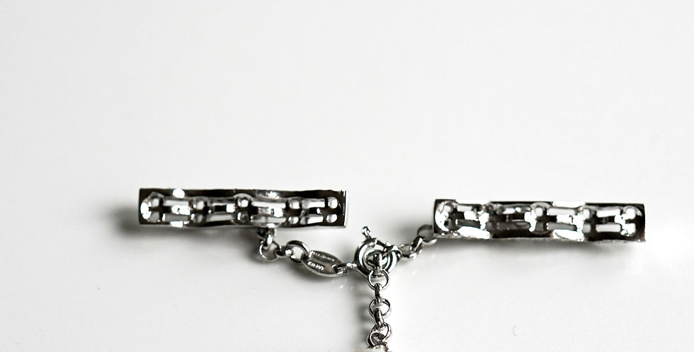 Pave Bar Silver Clasp