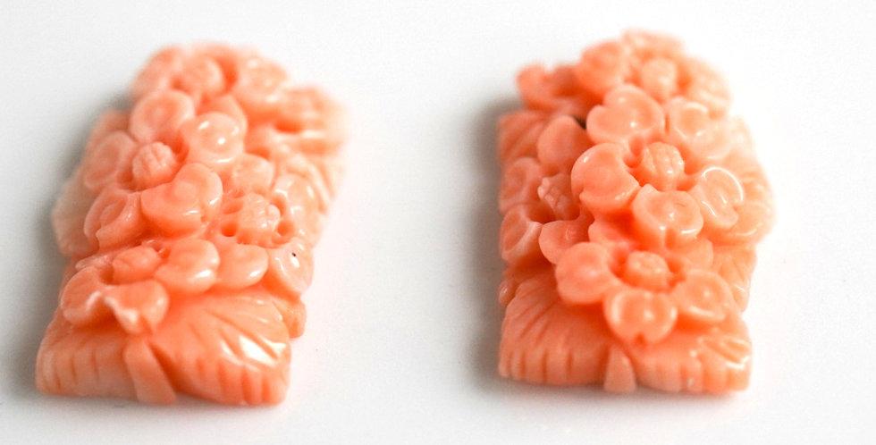 Pair Coral Carvings