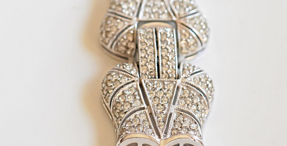 Bow Pave Silver Clasp