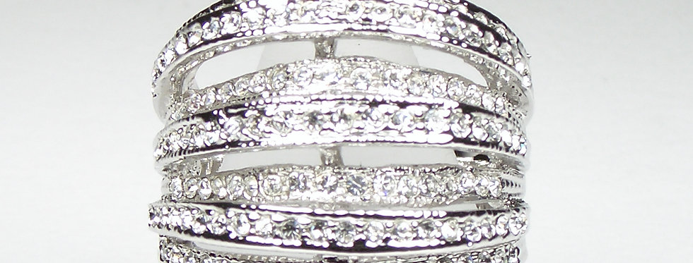 Silver Curves Pave Ring