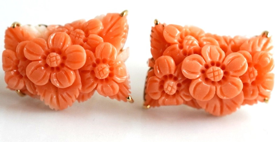 Apricot Coral Gold Earrings