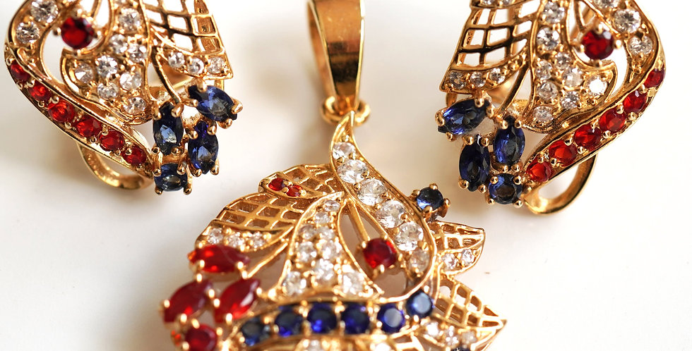 Gold Leaf Sapphire Ruby Set