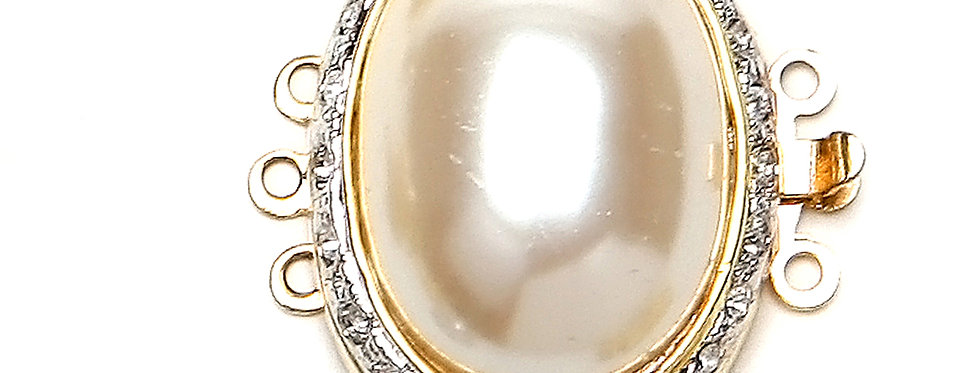 Oval Pearl Clasp x 7