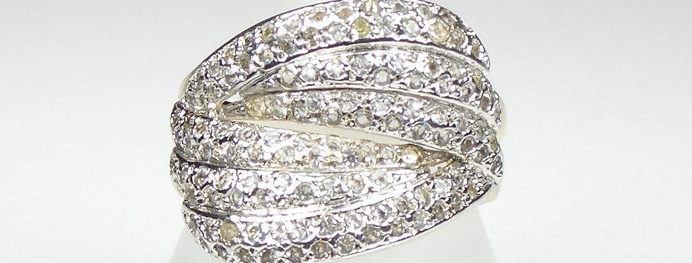 Silver Envelope Pave Ring