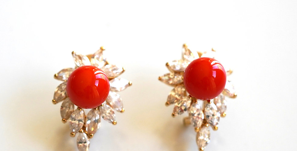 Rolled Gold Coral Earrings