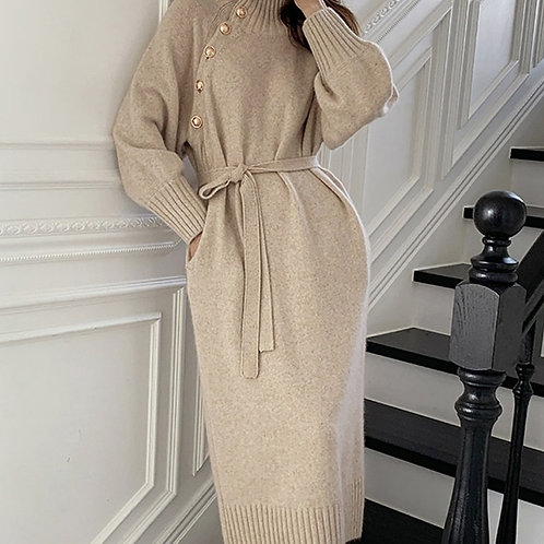 Aurora - Knitted Midi Dress with Belt and Gold Buttons