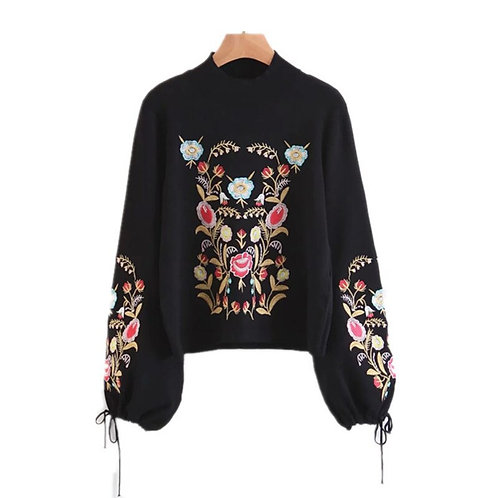 Floral Embroidered Woman's Sweater - Black Jumper with Flowers