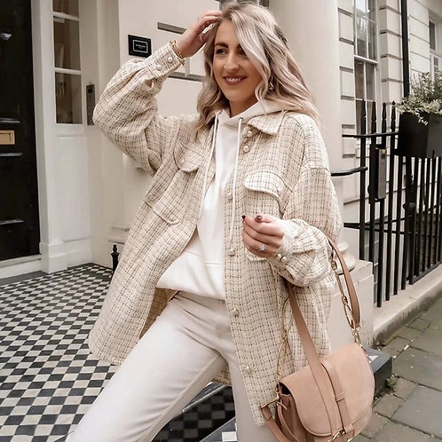 Vintage Style Oversized Tweed Shirt with Pearl Buttons