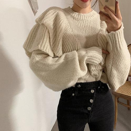 Winter Love - Women's Loose Sweater with Ruffles Winter Warm Jumper