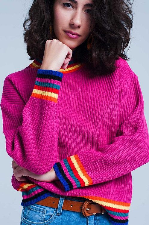 Women Fuchsia Sweater with Stripe Detail