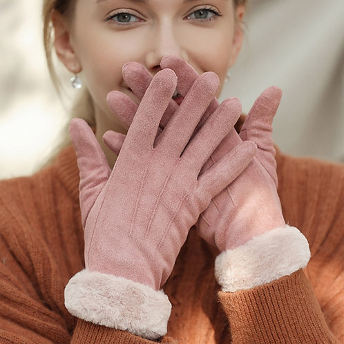 Suede Gloves with Fur Lining