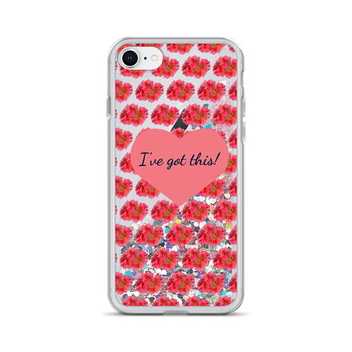 Eros - Floral Personalised iPhone Case with Liquid Glitter