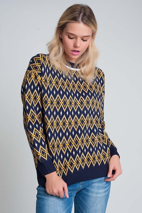 Womens Winter Sweater in Navy Multicolour with Diamond Design