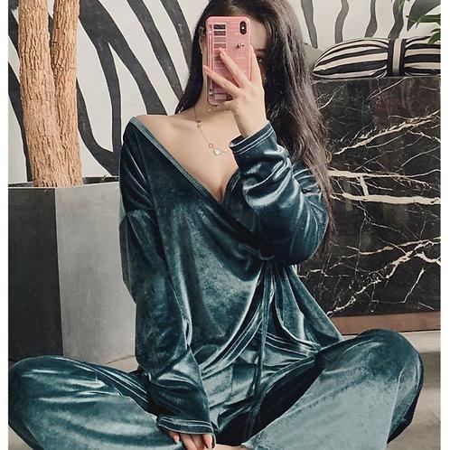 Julie - Velvet Pajamas - 2 Pieces Womens Pyjama Set