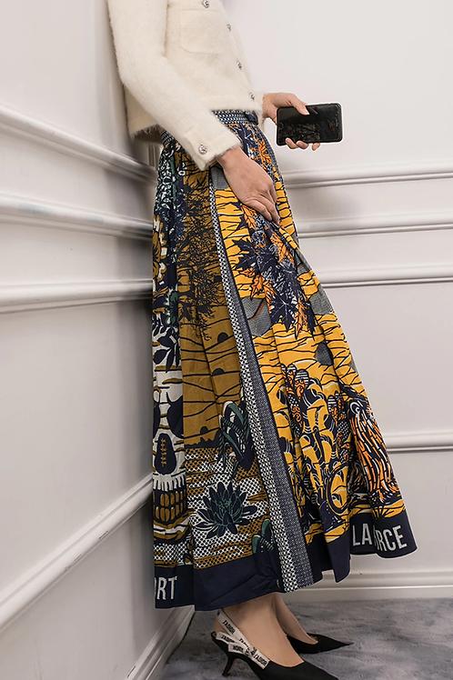Baroque Maroc Pleated Skirt in Swing Style
