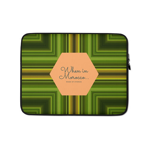 Asilah - boho style laptop case colourful snug fit laptop cover faux fur lining