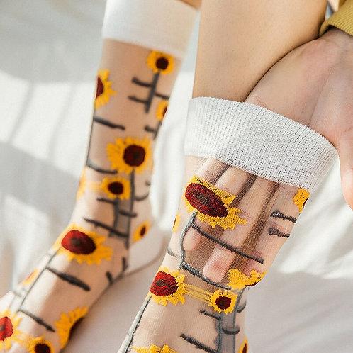 Elegant Floral Silk Socks for Women