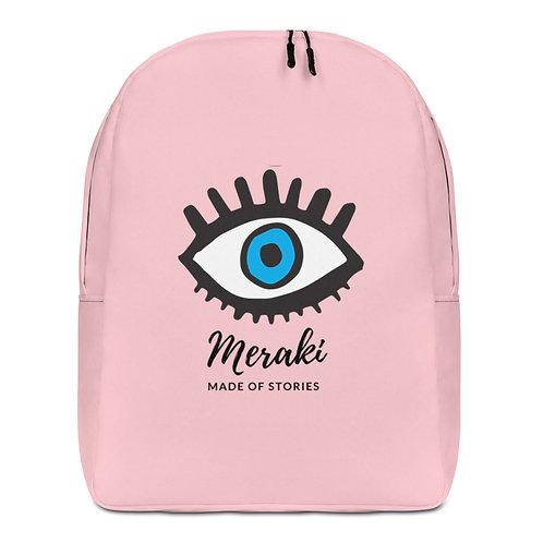 Designer Backpack Meraki in Pink with Blue Eye Design